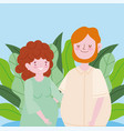 family pregnant woman and man portrait cartoon vector image vector image