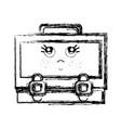 figure kawaii cute thinking suitcase design vector image vector image