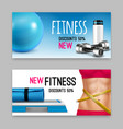 fitness accessories realistic banners set vector image vector image