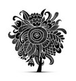 floral magic tree sketch for your design vector image vector image