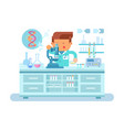 genetics doctor during work at laboratory vector image vector image