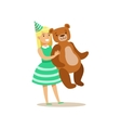 Girl Holding Giant Teddy Bear Kids Birthday Party vector image vector image