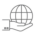 globe on hand thin line icon ecology and energy vector image vector image