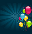 happy birthday card with party balloons vector image vector image