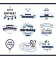 Happy Birthday Monochrome Labels vector image vector image