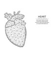 heart with aorta and veins low poly design human vector image vector image