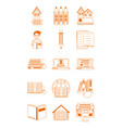 home education school learn supplies icons set vector image vector image