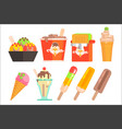 ice-cream in bowl waffle wrapper box glass cup vector image vector image