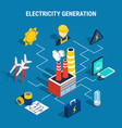 isometric electricity composition vector image vector image