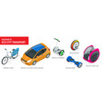 isometric set of alternative eco transport vector image vector image