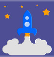 launch of the rocket the night starry sky vector image