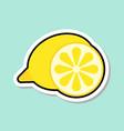 lemon sticker on blue background colorful fruit vector image