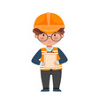 little boy builder wearing hard hat holding vector image vector image