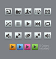 media player icons - satinbox series vector image