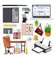 office equipment set computer laptop vector image