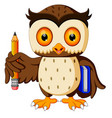 owl carrying book and pencil vector image