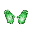 Pair of bright green winter knitted mittens with vector image vector image