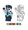 panda policeman coloring book animal alphabet p vector image vector image