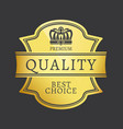 premium quality best choice shiny golden sticker vector image vector image