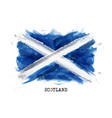 realistic watercolor painting flag scotland vector image