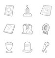ritual service icons set outline style vector image vector image