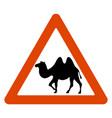 road sign camel crossing road vector image
