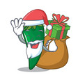 santa with gift green chili character cartoon vector image vector image