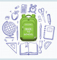 schoolbag with set school supplies vector image