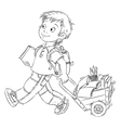 Schoolboy with a cart vector image