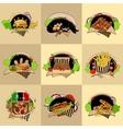 Set of nine fast-food vector image