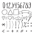 Sketch design elements Numbers Set of hand drawn vector image vector image