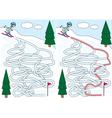 Skiing maze vector image vector image