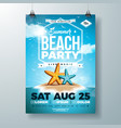 summer party flyer design with starfish and vector image vector image