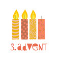 three burning advent candles vector image