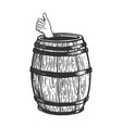 thumb up in wine barrel engraving vector image