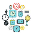 time and clock icons set flat style vector image vector image