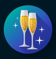 two glasses of champagne icon with sparkles vector image vector image