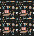 viking seamless pattern cute ship weapon beer vector image