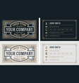 vintage and luxury business card templat vector image