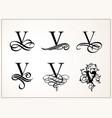 vintage set capital letter v for monograms vector image vector image