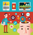 technological devices icons and thinking concept vector image
