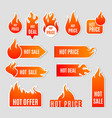 Fire Sale Flat Icon Set vector image