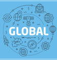blue line flat circle global vector image