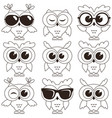 set of cool owls isolated on white background vector image