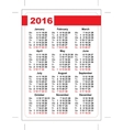 2016 pocket calendar Template grid Vertical vector image vector image