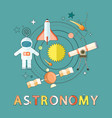 astronomy and space exploration emblem vector image vector image