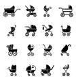 baby carriage icons set simple style vector image vector image