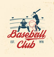 baseball or softball club badge vector image vector image
