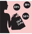 Black friday sale banner with fashionable woman vector image