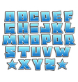 blue gradient graffiti fonts alphabet with shadow vector image vector image